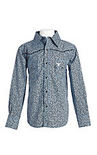 Cowboy Hardware Boy's Blue Print Long Sleeve Western Shirt
