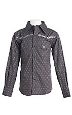 Cowboy Hardware Boy's Charcoal Bronc Print Long Sleeve Western Shirt