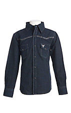 Cowboy Hardware Boy's Solid Navy Longhorn Print Long Sleeve Western Shirt