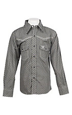 Cowboy Hardware Boy's Charcoal Grey Medallion Print Long Sleeve Western Shirt