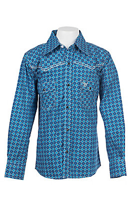 Cowboy Hardware Boy's Sky Blue Medallion Print Long Sleeve Western Shirt