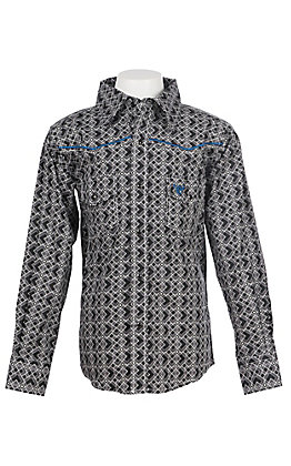 Cowboy Hardware Boy's Black and White Diamond Print Long Sleeve Western Shirt