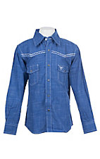 Cowboy Hardware Boy's Blue with White Print Long Sleeve Western Shirt