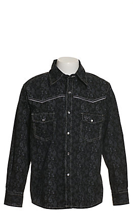 Cowboy Hardware Boys' Black with Grey Paisley Print Long Sleeve Western Shirt