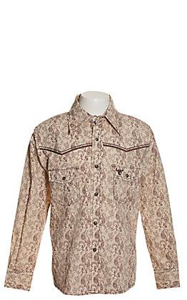 Cowboy Hardware Boys' Tan with Brown Paisley Print Long Sleeve Western Shirt