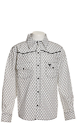 Cowboy Hardware Boys' White with Black Arrow Print and Skull Embroidery Long Sleeve Western Shirt