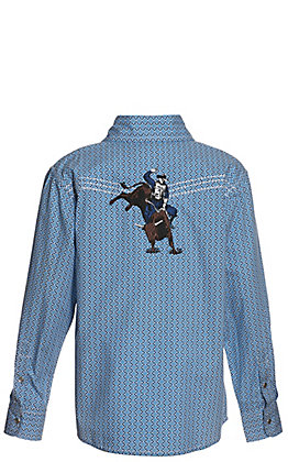 Cowboy Hardware Boys' Blue and White Geo Print with Bull Rider Long Sleeve Western Shirt
