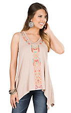 Anne French Tan with Multicolor Embroidery Sleeveless Fashion Top