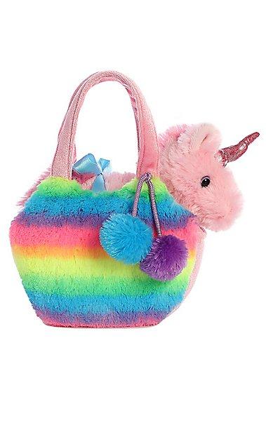 f8ea559115ab Aurora Fancy Pals Rainbow Unicorn and Bag Stuffed Animal