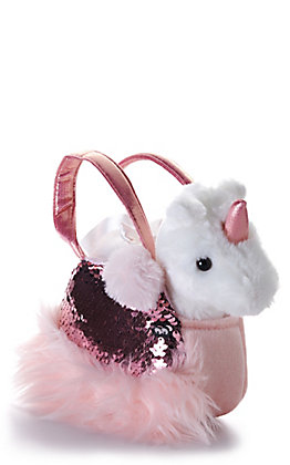 "Aurora Fancy Pals 7"" Shimmers Rose Carrier and Unicorn Stuffed Animal"