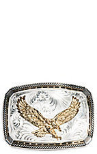 Montana Silversmiths Two Tone Fastened At All Four Corners w/ Souring Eagle Buckle