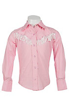 09 Apparel Girl's Pink with White Fringe & Rhinestones Long Sleeve Western Shirt