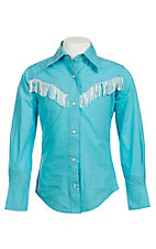 09 Apparel Girl's Turquoise with White Fringe & Rhinestones Long Sleeve Western Shirt