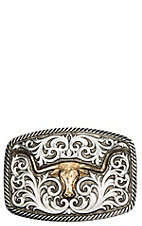 Montana Silversmiths Antiqued Two Tone Champion Texas Longhorn and Scrolls Buckle
