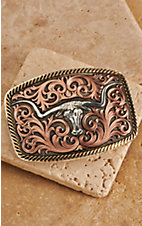 Montana Silversmiths Tri Color Champion Texas Longhorn and Scrolls Buckle