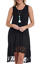 Anne French Black High-Low Sleeveless Lace Dress