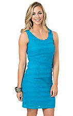 Anne French Women's Turquoise Tiered Lace Dress