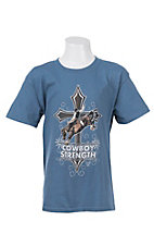 Cowboy Hardware Boy's Blue Cowboy Strength Screen Print Short Sleeve Tee