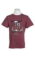 Cowboy Hardware Boys Heather Burgundy Team Roper 4 Life Short Sleeve Tee