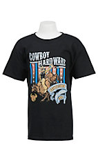 Cowboy Hardware Boy's Black Stars & Stripes Bull Rider Screen Print Short Sleeve Tee