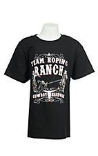 Cowboy Hardware Boy's Black with Team Rope Ranch Screen Print Short Sleeve T-Shirt