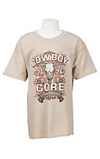 Cowboy Hardware Boy's Sand with Cowboy to the Core Screen Print Short Sleeve T-Shirt