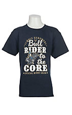 Cowboy Hardware Boy's Navy with Bullrider to the Core Screen Print Short Sleeve T-Shirt
