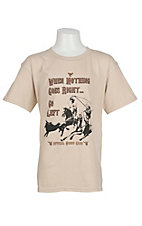 Cowboy Hardware Boy's Sand with When Nothing Goes Right Go Left Screen Print Short Sleeve T-Shirt