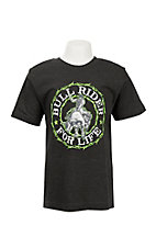 Cowboy Hardware Boy's Grey with Neon Green Bull Rider Short Sleeve T-Shirt