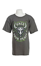 Cowboy Hardware Boy's Charcoal Face Your Fears Screen Print Short Sleeve T-Shirt