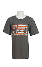 Cowboy Hardware Boy's Charcoal Team Roper American Flag Screen Print Short Sleeve T-Shirt