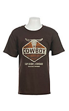 Cowboy Hardware Boy's Logo Screen Print Chocolate Short Sleeve T-Shirt