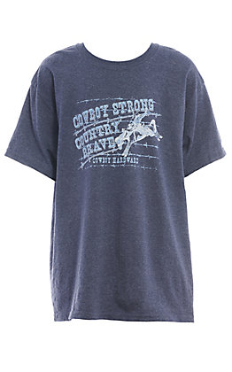 Cowboy Hardware Boys' Dark Heather Grey Cowboy Strong Country Brave Short Sleeve T-Shirt