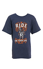 Cowboy Hardware Boys Heather Navy Ride For Your Life Short Sleeve T-Shirt
