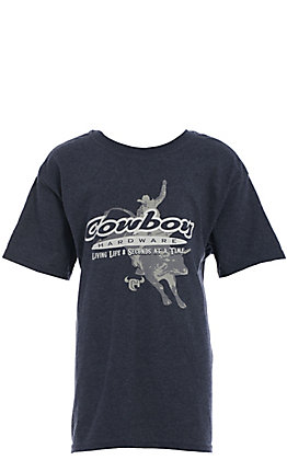 Cowboy Hardware Boy's Heather Navy 8 Seconds at a Time Short Sleeve T-Shirt