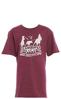 Cowboy Hardware Boys' Burgundy Team Roper Short Sleeve T-Shirt