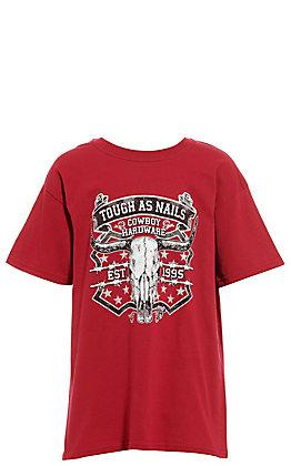 Cowboy Hardware Boys' Cardinal Red Tough As Nails Short Sleeve Tee