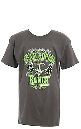 Cowboy Hardware Boys' Charcoal Grey with Lime Green Team Roping Ranch Short Sleeve Tee