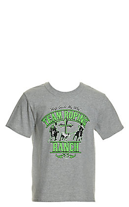 Cowboy Hardware Boys' Heather Grey with Lime Team Roping Ranch Short Sleeve Tee