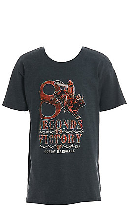 Cowboy Hardware Boy's Grey 8 Seconds to Victory Short Sleeve Tee
