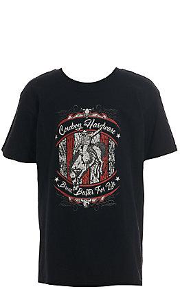 Cowboy Hardware Boy's Black Bronc Buster for Life Graphic Short Sleeve T-Shirt
