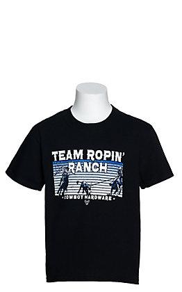 Cowboy Hardware Boys' Black Team Ropin' Ranch Graphic Short Sleeve T-Shirt
