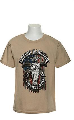 Cowboy Hardware Boy's Sand The American Original Graphic Short Sleeve T-Shirt