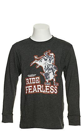 "Cowboy Hardware Boys' Grey ""Ride Fearless"" Long Sleeve T-shirt"