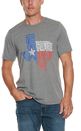 Men's Heather Grey Texas Flag and Town S/S T-Shirt