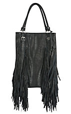 Urban Originals Black Crazy Heart with Fringe Sides Vegan Leather / Suede Handbag