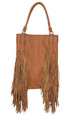 Urban Originals Tan Crazy Heart with Fringe Sides Vegan Leather / Suede Handbag