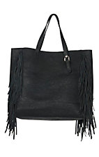 Urban Originals Black Star Shooter Vegan Leather / Suede Fringe Handbag