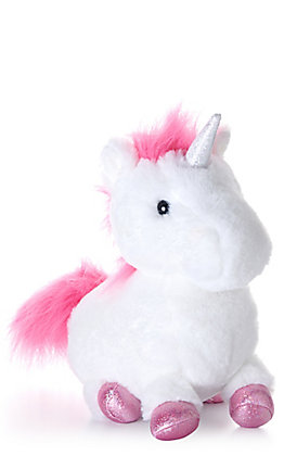 "Aurora Macaron Collection 10"" Dark Pink and White Unicorn Stuffed Animal"