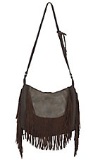 Urban Originals Chocolate Fringed Goddess Vegan Leather / Suede Crossbody Bag